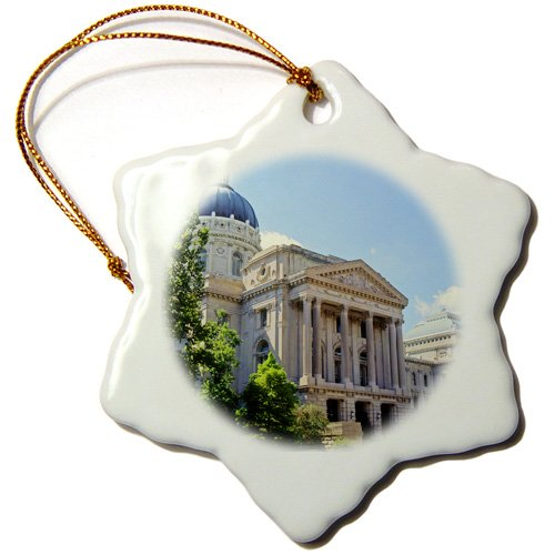 - 3dRose orn_90223_1 Indiana, Indianapolis Capitol Building, Senate St-Us15 Ami0032-Anna Miller-Snowflake Ornament, 3-Inch, Porcelain