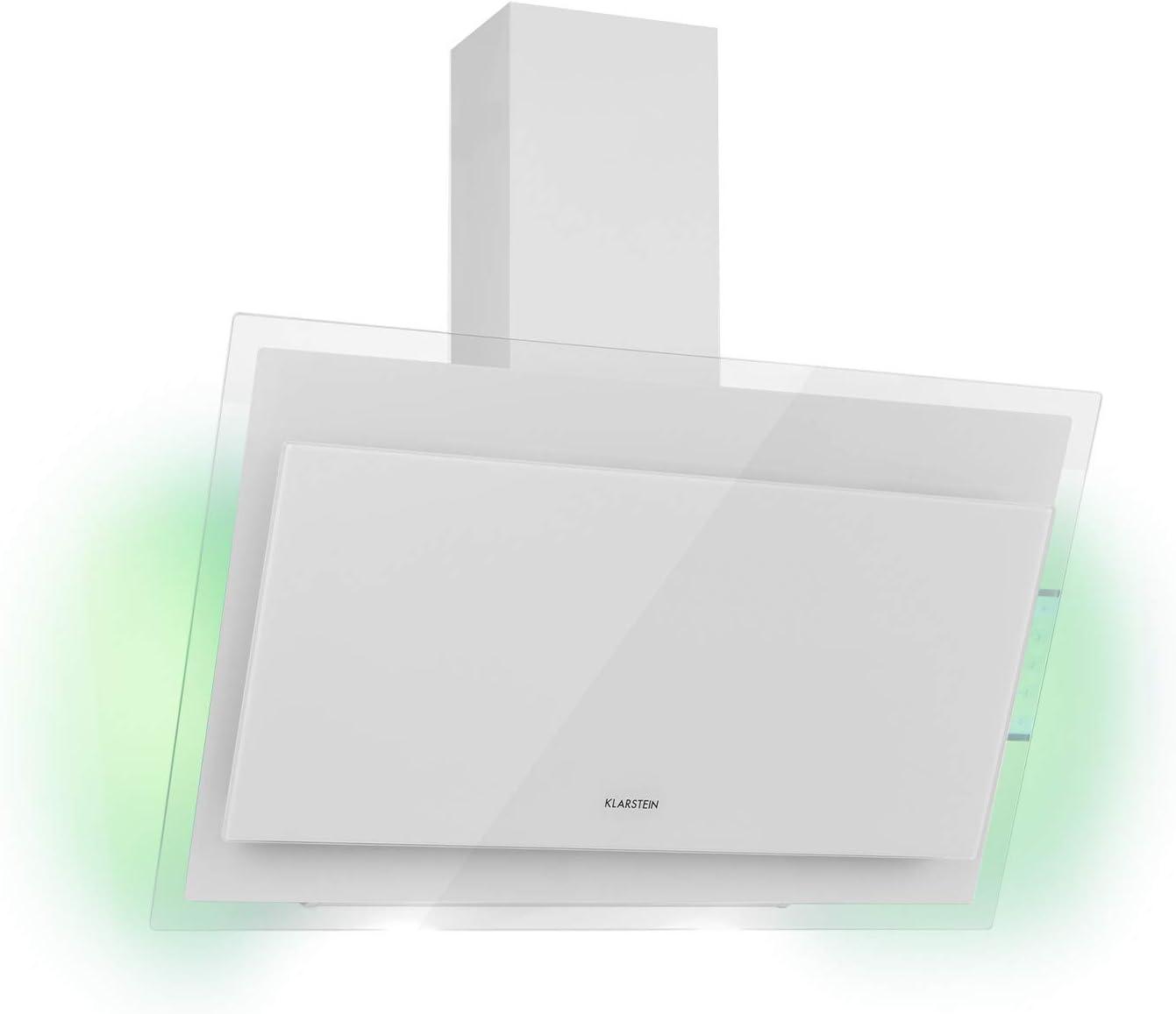 KlarsteinMirage - Campana extractora, Vidrio de seguridad, 3 niveles depotencia, Extracción de salida 550 m³/h, LED multicolor, Eco-Excelencia, Juego de montaje completo, 90 x 50 x 32 cm, Blanco