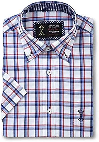 Camisa de Hombre Manga Corta, Blanca con Estampado de Cuadros de Color Rojo y Azul - 6_2XL, Azul Tinta: Amazon.es: Ropa y accesorios