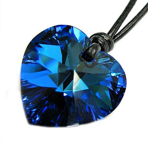 "Swarovski Elements Crystal Bermuda Blue Heart Love Charm Pendant 18mm Black Waxed Cotton 1mm Necklace 14"" 16"" 18"" 20"" 22"" 24"" Adjustable Made with Swarovski Elements"