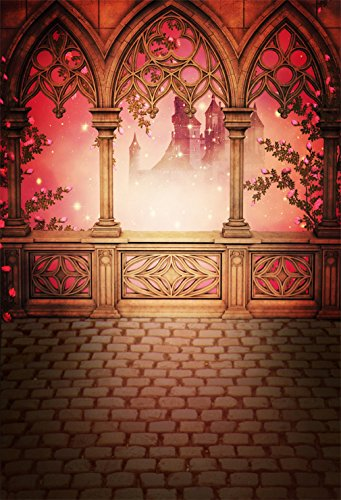 Fairy Tale Castle Backdrop Photography Romantic Stone Pavilion Brick Floor Princess Wedding Photographic Backgrounds Children Photo Studio Shoot Props 661