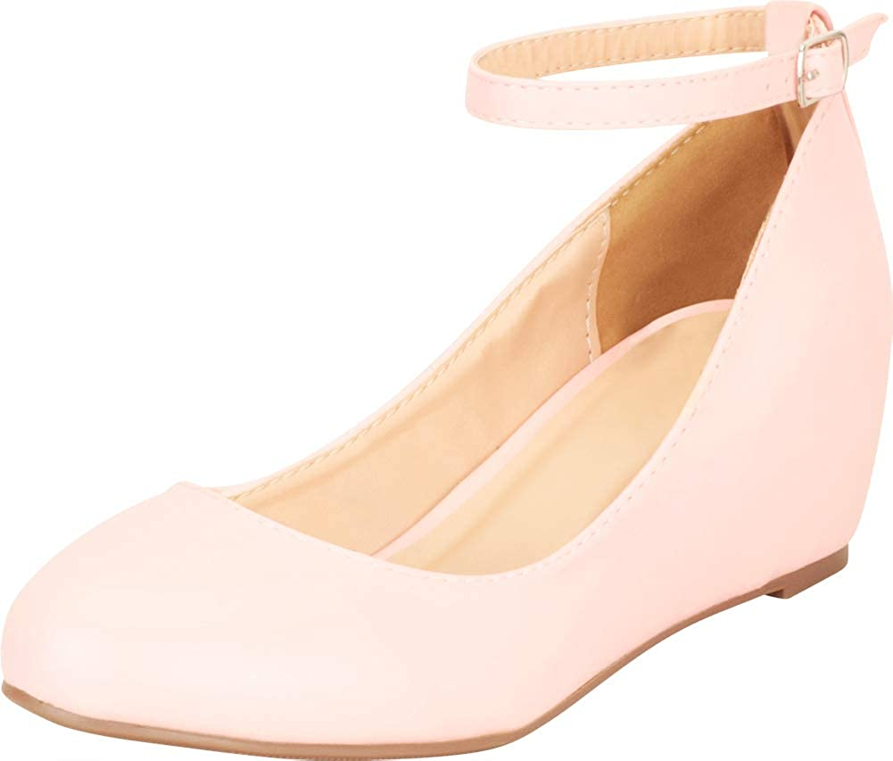 Pink Pu Cambridge Select Women's Round Toe Buckled Ankle Strap Wrapped Wedge