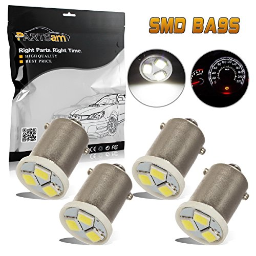 72 Corvette White Car (Partsam 4pcs White Ba9s 1815 1895 57 53 LED Light Bulb Instrument Panel Gauge Cluster Light Bulbs 12V)