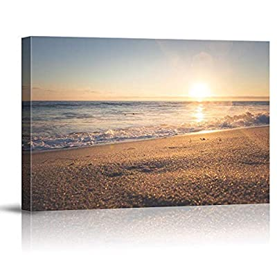 Classic Design, Delightful Design, Sunset Beach Sea Painting Artwork for Home Framed