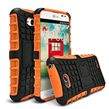 LG Optimus L70 Case, LG L70 Case, MagicMobile® Ultra Protective Shockproof Defender Case for LG L70 Dual Hybrid Layer [PERFECT-FIT] Rugged TPU Case for LG Optimus L70 with Kickstand [STAND] - Orange