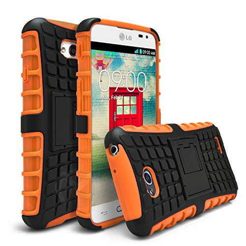 LG Optimus Exceed 2 Case, LG Optimus L70 Case, MagicMobile Ultra Protective Shockproof Defender Cute Case for LG L70 Dual Hybrid Layer Rugged TPU Case for LG Optimus Real with Kickstand - Orange