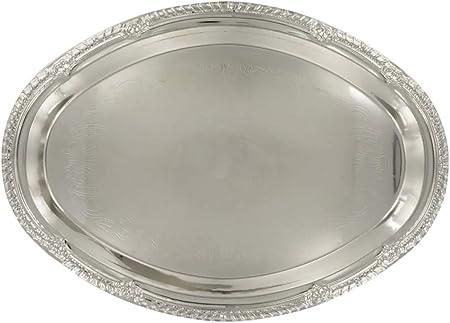 Bandejas de servir ovaladas bañadas en níquel, color plateado Banquete de plata para cenas de boda.