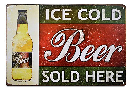 Fine Beer Pub Sign - K&H Ice Cold Beer Retro Metal Tin Sign Posters Café Bar Pub Restaurant Wall Decor 12X8-Inch