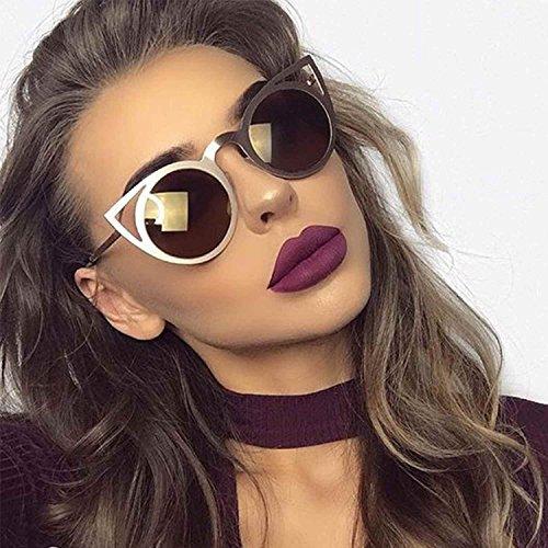 Cat Eye Vintage Style Round Sunglasses Smoked Lens Metal Frame Women Fashion