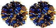 2 of Plastic Cheerleader Cheerleading Pom Poms Metallic Foil & Plastic Ring Pom Sports Party Costume Acces