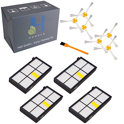 Virtual Wall Scheduler (4pcs Roomba HEPA Filters & 6pcs Roomba 3-Armed Side Brushes Roomba Robotics Vacuum Cleaners Accessories (800&900 Series), HongFa Roomba Parts Replacement For iRobot Roomba 880 980 805 960)