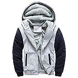 Ankola Men's Winter Patchwork Thicken Fleece Lined Zipper Hoodie Sweatshirt Jacket Coat Outerwear (XXXXL, Gray)