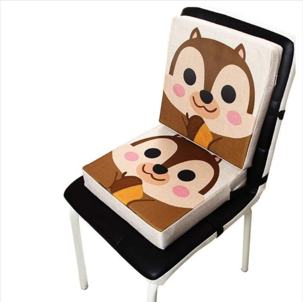 Baby Safe Dining Chair Cushion Baby Seat Portable Detachable Adjustable Cute Animal Print Linen Childrens Dining Chair Heightening Cushion Piano Mat Baby Mat A