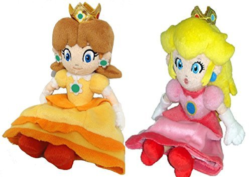 """Price comparison product image TinTek® 8"""" Official Super Mario Princess Peach & Daisy Soft Stuffed Plush Toy 8 Inches"""