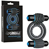 OptiMALE Vibrating Double C-Ring SLATE PLUS - FREE box of 3 count Shanhai Ultra Ribbed Lubricated Condoms
