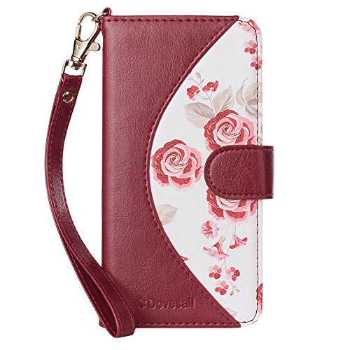 iPhone X Case, iPhone X Wallet Case, Dovesail Handmade Flip Folio Case [Kickstand Feature] with ID and Credit Card Protector for Apple iPhone X Edition(2017),Burgundy