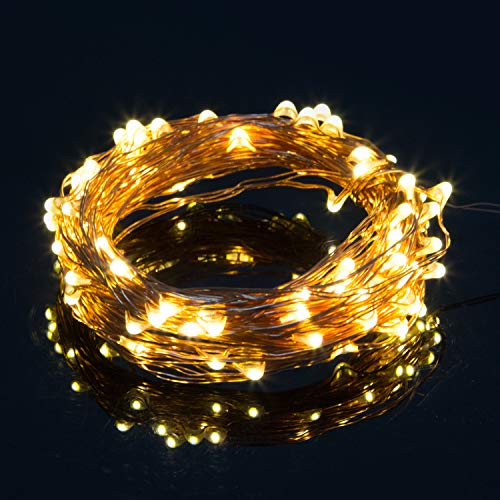 Vinsco String Lights Battery Operated, 6.6ft / 2M 20 LED Copper Wire [Waterproof] Bright Fairy Light for Bedroom Patio Indoor Outdoor Home Kids Room DIY Christmas Xmas Tree Holiday Party-Warm White ()