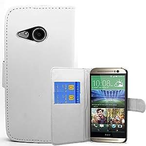 Maestro de cuero del carcasa de accesorios caja del folio de la PU para HTC One M8 Blanco