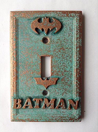 Batman Light Switch Cover - Aged Copper/Patina or Stone (Copper/Patina)