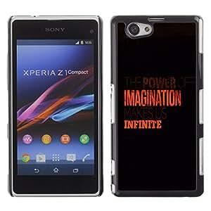 TECHCASE**Cubierta de la caja de protección la piel dura para el ** Sony Xperia Z1 Compact D5503 ** Imagination Infinite Orange Clean Black