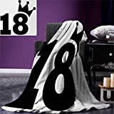smallbeefly 18th Birthday Digital Printing Blanket Cartoon Soccer Jersey Seem Bold 18 Number Party Sports Playing Art Print Summer Quilt Comforter 80''x60'' Black White