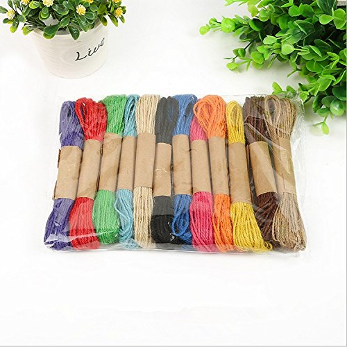 12 colors 120M 2mm Colorful Natural Jute Cord, Hemp Rope, Packing Tag Rope, Decorative Craft - Jude Material