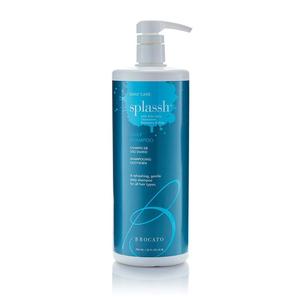 Brocato Splassh Daily Hair Shampoo: Volumizing Shampoo with Fortifying Keratin and Moisturizing Aloe Vera, Chamomile and Rosemary - No Sulfate or Parabens - Safe for All Hair Types - 32 Oz.