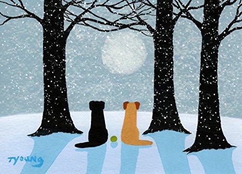 Black Yellow Lab Labrador Retriever DOG Winter Art print by Todd Young SNOWY MOONLIGHT