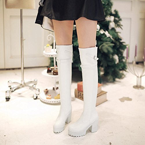 Carolbar Damesmode Gesp Gothic Platform Cosplay Lolita Date High Chunky Heel Tall Dress Boots White
