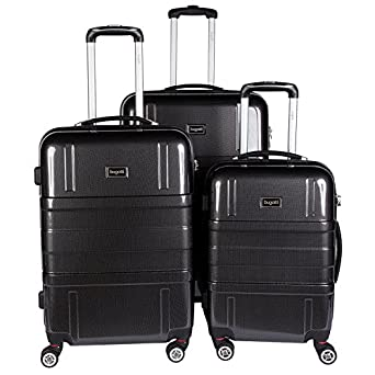 Amazon.com | Bugatti 3 Piece Hard Luggage Set, Black, One Size ...