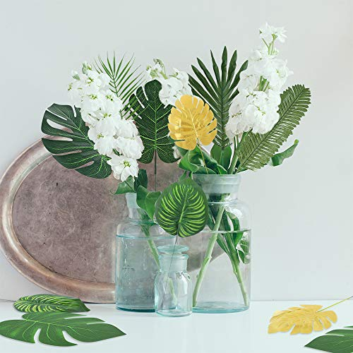 Details about  /Auihiay 80 Pieces 13 Kinds Artificial Palm Leaves Golden Tropical Leaves with St