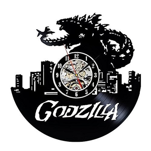 (Godzilla Art Vinyl Wall Clock Gift Room Modern Home Record Vintage Decoration)