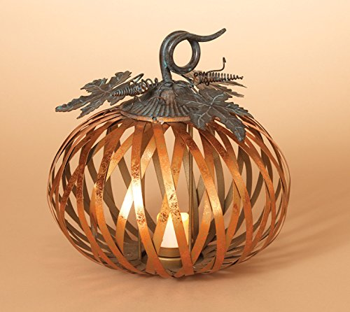 Metal Harvest Pumpkin Candle Holder with Metallic Copper Finish