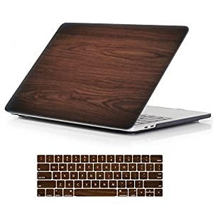 "iCasso Macbook New Pro 13 Case 2017 and 2016 Release Hard Shell Cover For Newest Macbook Pro 13""Retina Model A1706/A1708 with/without Touch Bar and Touch ID with Keyboard Cover (Brown woodgrain)"