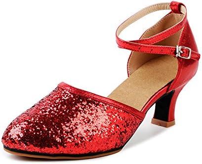 5bea72e2d2185 Women's Sequined Leather Pointed Toe Kitten Heel Latin Ballroom ...