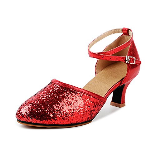 OCHENTA-Womens-Sequined-Leather-Pointed-Toe-Kitten-Heel-Latin-Ballroom-Dance-Shoes-Rubber-Red-Tag-35-US-55