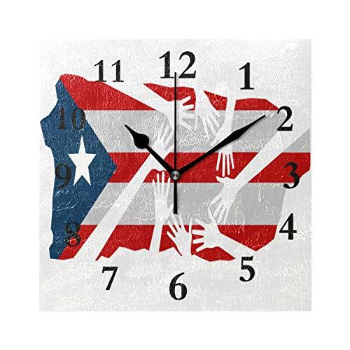 ZHOUSUN Personalized Non Ticking Silent Clock Art Living Room Kitchen Bedroom for Home Decor Stylish Puerto Rico Selevanta Square Acrylic Wall Clock
