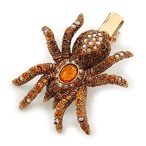 (Avalaya Amber/Topaz Coloured Austrian Crystal Spider Hair Beak Clip/Concord Clip in Antiique Gold Plating - 55mm L)
