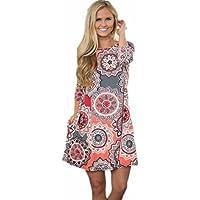 Ankola Women's Boho Printed Casual 3/4 Sleeve Swing Tunic T-Shirt Dress Short Mini Dress with Pockets