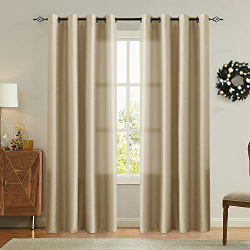 Vangao Gold Brown Curtains 84 inches Long Faux Silk Opaque Curtain Light Filtering Living Room Satin Drapes Privacy Window Treatments Set for Bedroom, Grommet Top,2 Panels (Room Living Formal Luxury Sets)