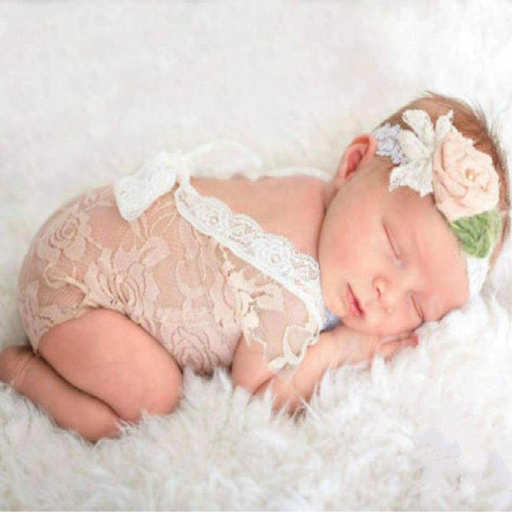 iSpchen Baby Newborn Infant Party Costume Cute Lace Bow Outfits for Photography Props Romper Birthday Gift Purple