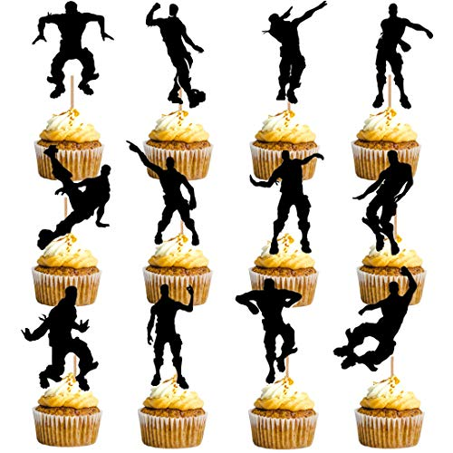 24 Pieces Dance Floss Cupcake Toppers(12 types) Game Theme Party Supplies Happy Birthday Cake Decoration