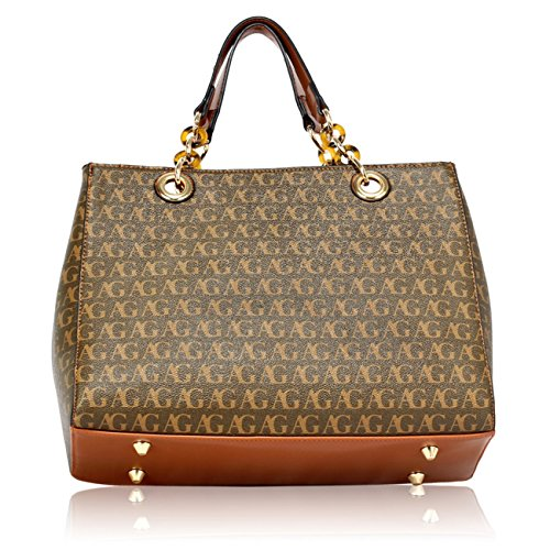 Designer School Shoulder 536 Faux For Women's Leather Bag Brown Tote Bags LeahWard Handbags Tote Large Her q7p58H8