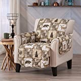 Sofa Saver Lodge Reversible Stain Resistant Printed Furniture Protector. Perfect for Pets and Kids. Adjustable Elastic Straps Included. (Chair, Stonehurst)