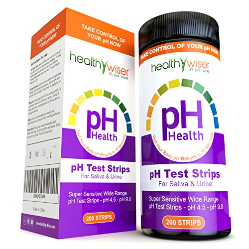 pH Test Strips 200ct - Tests Body pH Levels for Alkaline & Acid levels Using Saliva and Urine. Track and...