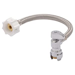 SharkBite 24656A Toilet Connector Hose, 1/2 inch x 7/8 inch x 12 inch Braided Stainless Steel Water Valve Shut Off, Push-to-Connect, PEX, Copper, CPVC, PE-RT