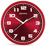 Fzy.bstim Silent Non-Ticking Wall Clock Battery Operated,10 Inch Modern Round Living Room/Office/School/Kitchen Clock,Red