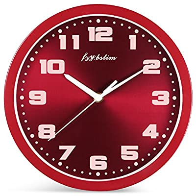 Fzy.bstim Silent Non-Ticking Wall Clock Battery Operated,10 Inch Modern Round Living Room/Office/School/Kitchen Clock,Red - EASY TO READ WALL CLOCK : Large numbers and glass cover guarantees perfect view. SILENT NON TICKING WALL CLOCK : Super quality quartz sweep movement guarantees accurate time and absolutely silent environment. CLASSIC METAL FRAME AND DIAL FACE : Special and elegant design will make a stunning addition and is easy to match in any interior of your living room, kitchen, bedroom or any part of your house. - wall-clocks, living-room-decor, living-room - 51zDQDbIE9L. SS400  -