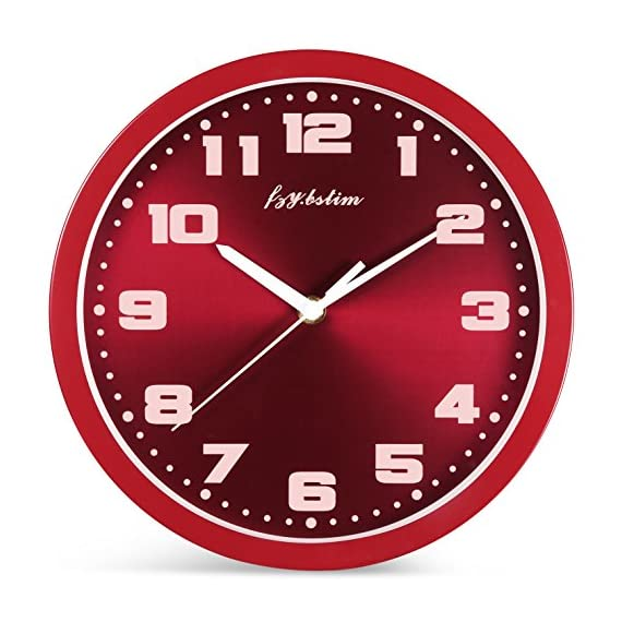 Fzy.bstim Silent Non-Ticking Wall Clock Battery Operated,10 Inch Modern Round Living Room/Office/School/Kitchen Clock,Red - EASY TO READ WALL CLOCK : Large numbers and glass cover guarantees perfect view. SILENT NON TICKING WALL CLOCK : Super quality quartz sweep movement guarantees accurate time and absolutely silent environment. CLASSIC METAL FRAME AND DIAL FACE : Special and elegant design will make a stunning addition and is easy to match in any interior of your living room, kitchen, bedroom or any part of your house. - wall-clocks, living-room-decor, living-room - 51zDQDbIE9L. SS570  -
