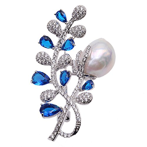 (JYX Pearl Floral Brooch Baroque White Freshwater Cultured Pearl Brooch Pin for Women)
